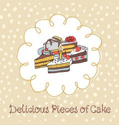 54-3 card with various cupcakes on a beige vector