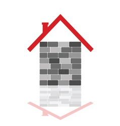 House with gray brick vector