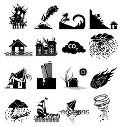 Natural disaster icons set vector image