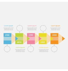 Timeline infographic with colored pencil ribbon vector