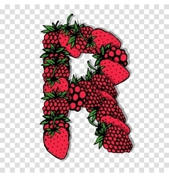 Letter r made from red berries sketch for your vector