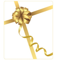Gold beauty bow with ribbon vector