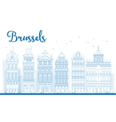 Outline brussels skyline vector