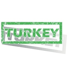 Green outlined turkey stamp vector