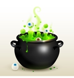 Black witches cauldron with green potion vector