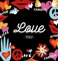 Valentine day retro design with love text vector