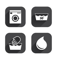 Wash icons machine washable at thirty degrees vector