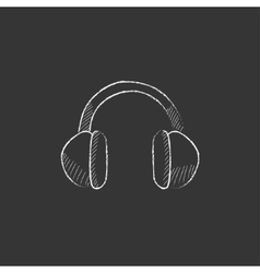 Headphone drawn in chalk icon vector