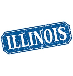 Illinois blue square grunge retro style sign vector