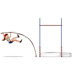 Woman athlete doing high jump vector