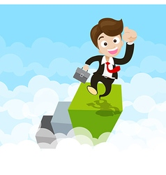 Businessman jumping with joy on green step ovet vector