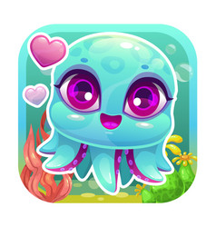 app icon with funny cartoon little baby octopus vector image vector image