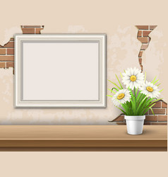 background with table frame and flower vector image