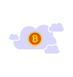 bitcoin sky cloud server graphic vector image