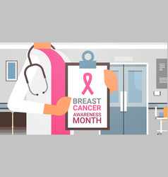 breast cancer awareness month poster with female vector image