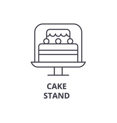 cake stand line icon outline sign linear symbol vector image