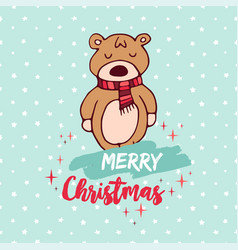 Christmas cute holiday baby bear cartoon card vector