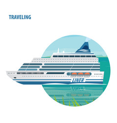 Emblem on white background with cruise liner vector