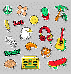 Fashion badges patches stickers hippie vector