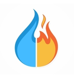 fire and water logo or icon vector image vector image