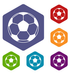 football or soccer ball icons set hexagon vector image vector image