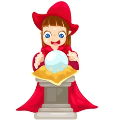 Fortune teller with crystal ball vector