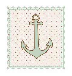 Frame with silhouette of anchor with background vector