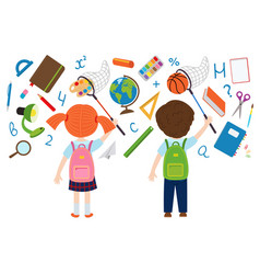 girl and boy catches of school supplies vector image vector image