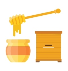 Glass jar of honey with wooden drizzler vector
