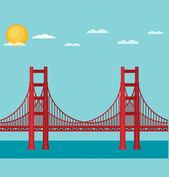 golden gate bridge flat vector image