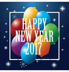 Happy new year 2017 greeting card balloons party vector