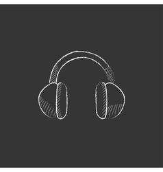 Headphone drawn in chalk icon vector