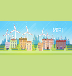 Houses building with wind turbine eco real estate vector