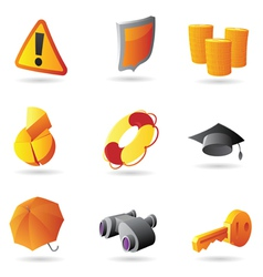 Icons for business security vector image