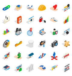 internet in world icons set isometric style vector image