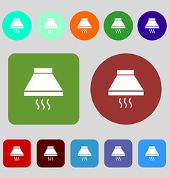 Kitchen hood icon sign 12 colored buttons flat vector