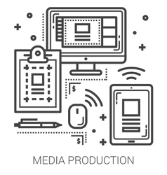 Media production line icons vector image
