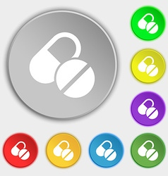 Medical pill icon sign symbol on eight flat vector
