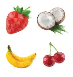 mosaic fruits coconut banana strawberry cherry vector image