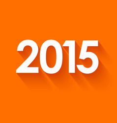 New year 2015 in flat style on orange background vector image