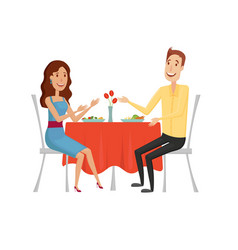 people in the restaurant for dinner flat and vector image