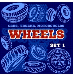 Set of different wheels vector image