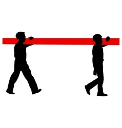 Silhouette of two construction workers carry pipe vector
