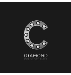 Silver c letter vector