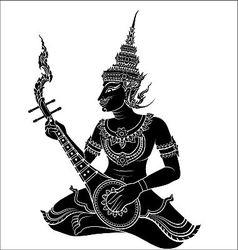 Thai art guitarist vector image