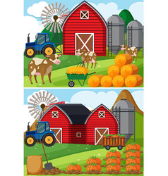 Two scenes of farmyard with cows and pumpkin vector