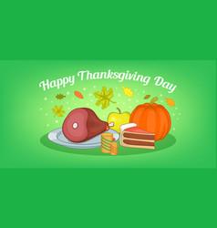 thanksgiving food horizontal banner cartoon style vector image