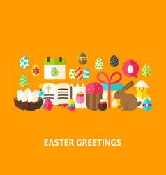 Easter greeting postcard vector