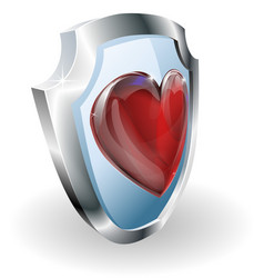 Heart on 3d shield icon vector