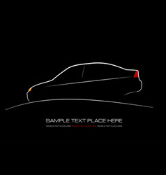 white silhouette of car on black background vector image